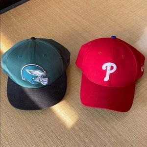 Phillies Baseball Hat and Eagles Cap
